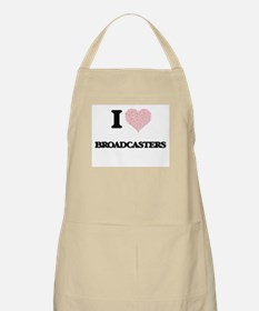 I love Broadcasters (Heart made from words) Apron