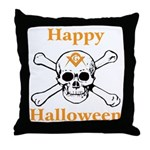 Masons Halloween Skull Throw Pillow