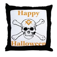 Masons Halloween Skull Throw Pillow