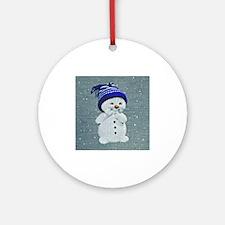 Cute Snowman Round Ornament