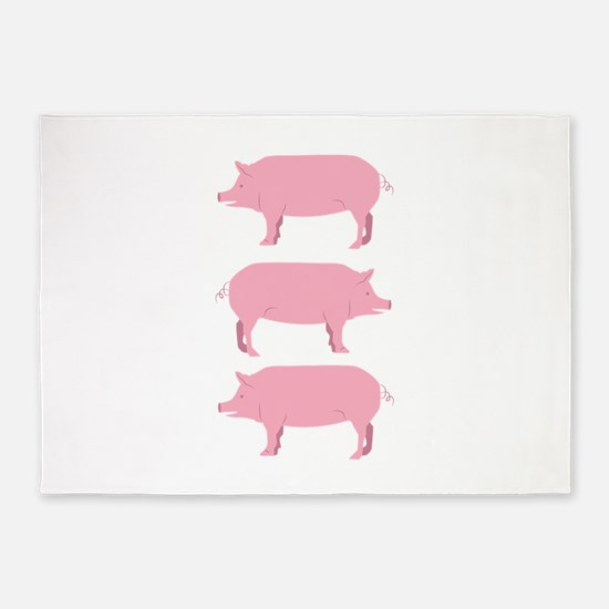 Pigs 5'x7'Area Rug