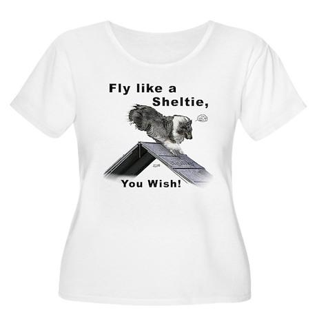 Shelties Fly- Agility Women's Plus Size Scoop Neck