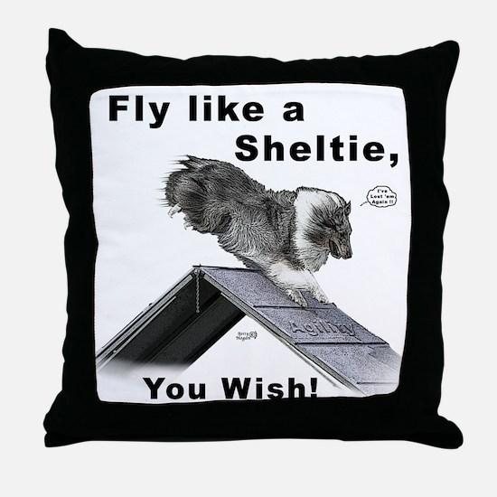 Shelties Fly- Agility Throw Pillow