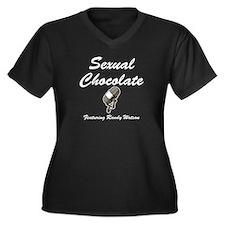 SEXUAL CHOCOLATE Women's Plus Size V-Neck Dark T-S
