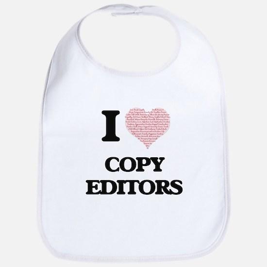 I love Copy Editors (Heart made from words) Bib