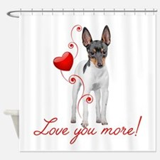 Love You More! Terrier Shower Curtain
