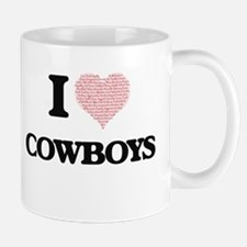 I love Cowboys (Heart made from words) Mugs