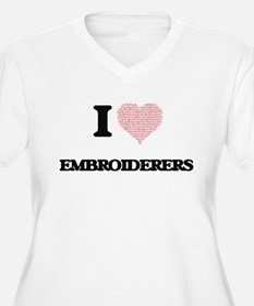 I love Embroiderers (Heart made Plus Size T-Shirt