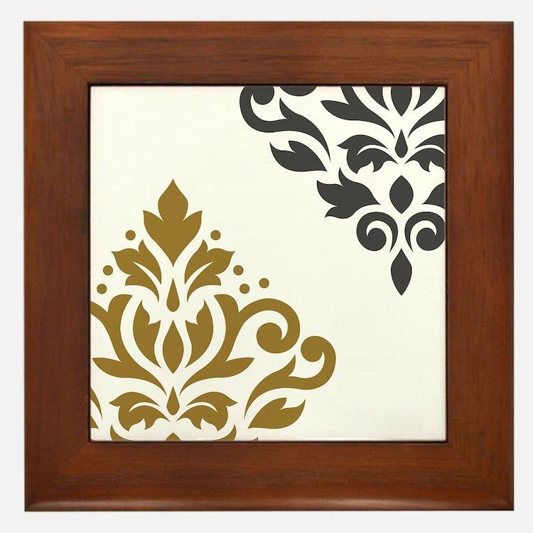 Scroll Damask Art I GGW Framed Tile