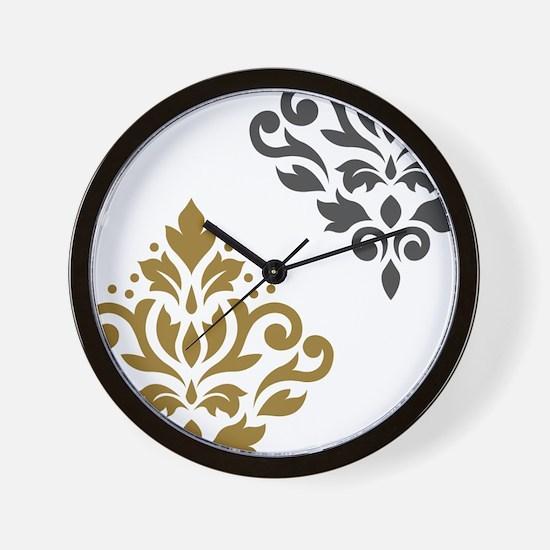 Scroll Damask Art I GGW Wall Clock