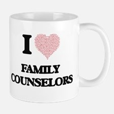 I love Family Counselors (Heart made from wor Mugs