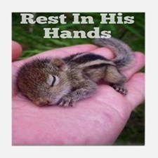 Rest in his hands Tile Coaster