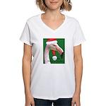 Flamingo Santa Claus Women's V-Neck T-Shirt