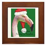 Flamingo Santa Claus Framed Tile