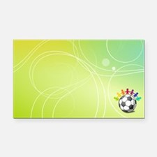 Unique Rainbow soccer ball Rectangle Car Magnet