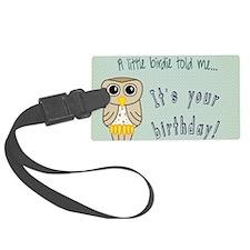 Cool Green owl Luggage Tag