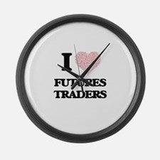 I love Futures Traders (Heart mad Large Wall Clock