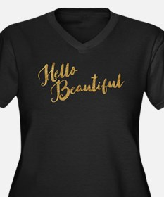 Hello Beautiful Faux Gold Plus Size T-Shirt
