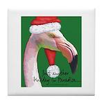 Flamingo Santa Claus Tile Coaster