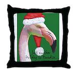 Flamingo Santa Claus Throw Pillow