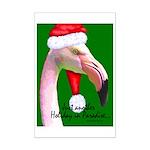 Flamingo Santa Claus Mini Poster Print