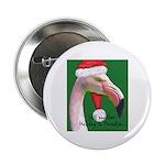 Flamingo Santa Claus Button