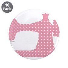 "Polka Dot Sewing Machine 3.5"" Button (10 pack)"
