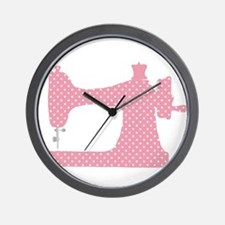 Polka Dot Sewing Machine Wall Clock