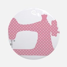 Polka Dot Sewing Machine Round Ornament