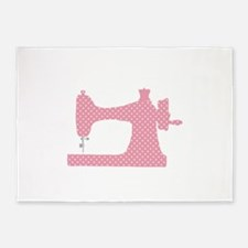 Polka Dot Sewing Machine 5'x7'Area Rug