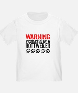 Warning Protected By A Rottweiler T-Shirt