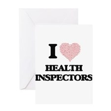 I love Health Inspectors (Heart mad Greeting Cards