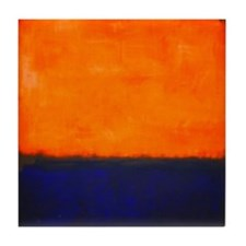 ROTHKO ORANGE AND BLUE Tile Coaster