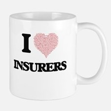 I love Insurers (Heart made from words) Mugs