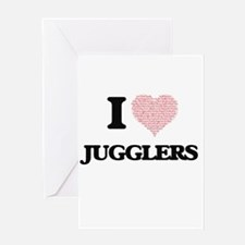 I love Jugglers (Heart made from wo Greeting Cards
