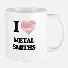 I love Metal Smiths (Heart made from words) Mugs