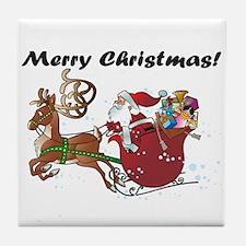 Merry Christmas Santa Tile Coaster