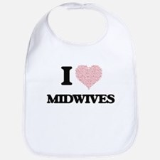 I love Midwives (Heart made from words) Bib