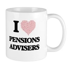 I love Pensions Advisers (Heart made from wor Mugs
