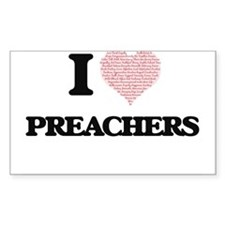 I love Preachers (Heart made from words) Decal