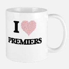 I love Premiers (Heart made from words) Mugs