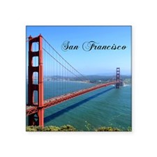 "Funny Golden gate bridge statues Square Sticker 3"" x 3"""