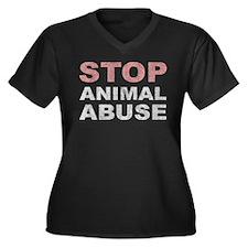 Stop Animal Abuse Women's Plus Size V-Neck Dark T-