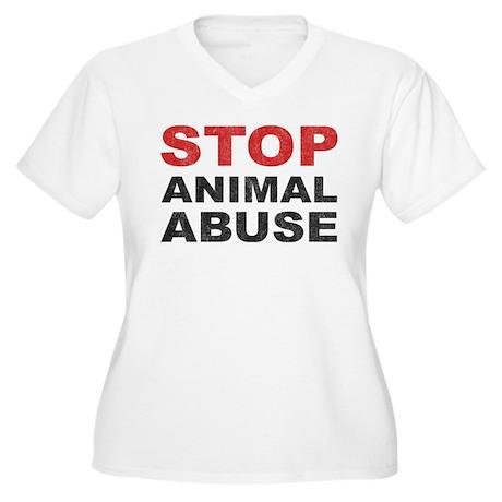 Stop Animal Abuse Women's Plus Size V-Neck T-Shirt