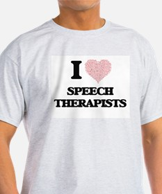 I love Speech Therapists (Heart made from T-Shirt