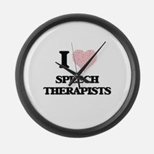 I love Speech Therapists (Heart m Large Wall Clock