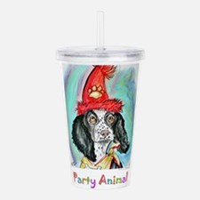 party animal, dog art! Acrylic Double-wall Tumbler