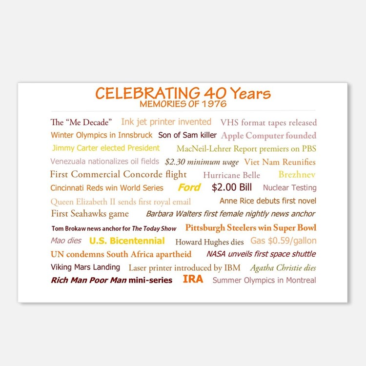 Cute 40th birthday Postcards (Package of 8)