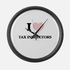 I love Tax Inspectors (Heart made Large Wall Clock
