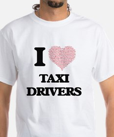 I love Taxi Drivers (Heart made from words T-Shirt